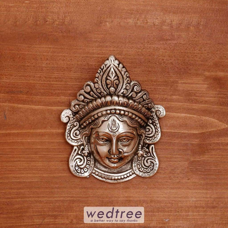 White Metal Durga/amman Face - W4026 Home Decors