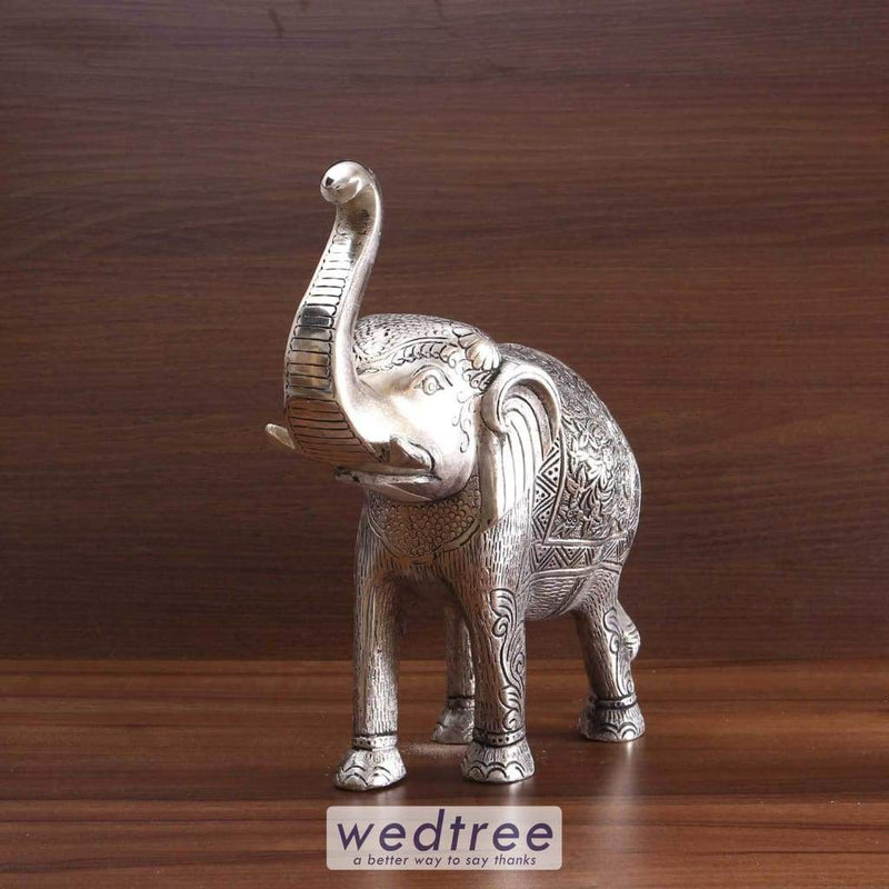 White Metal Elephant 12 Inch Hollow Home Decors
