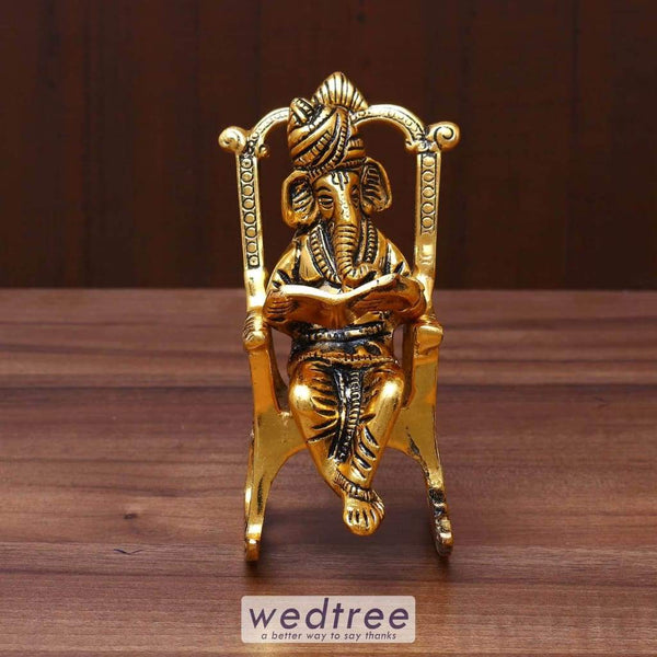White Metal Ganesha On Chair Gold Finish - W3631 Home Decors