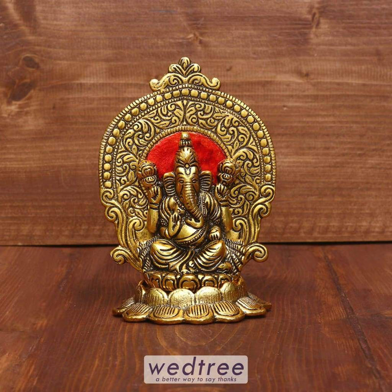 White Metal Ganesha On Lotus Gold Finish With Enamel Paint - W3957 Divine Return Gifts