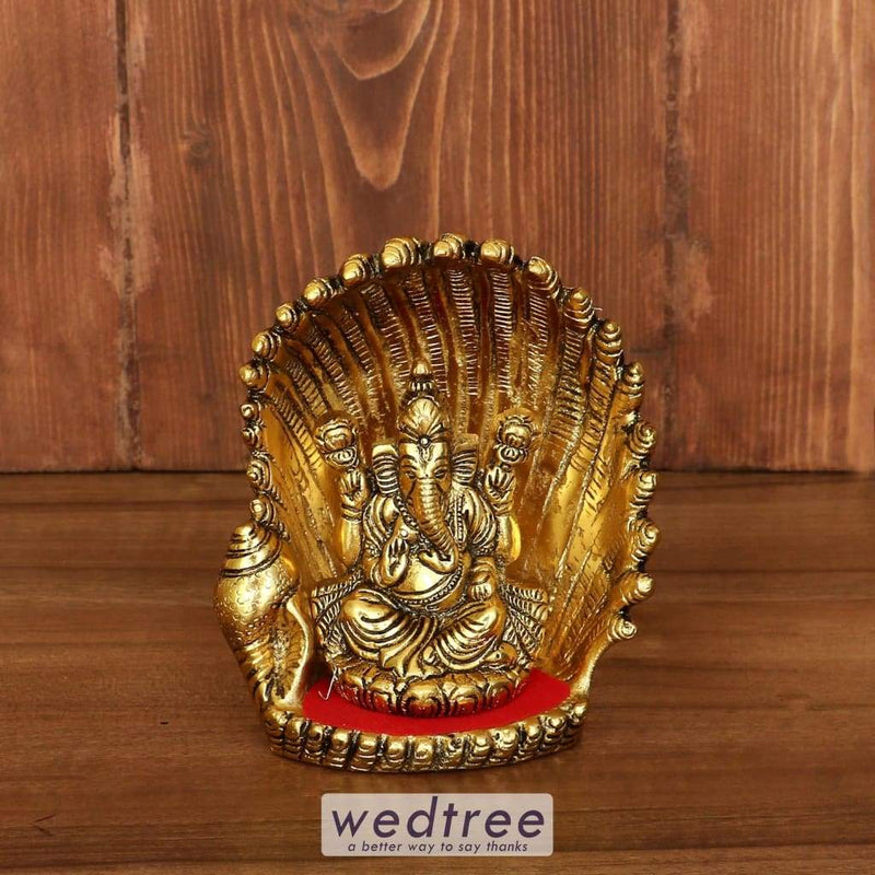 White Metal Ganesha On Shell With Gold Finish - W3915 Home Decors