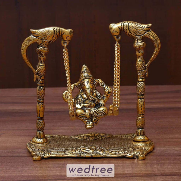 White Metal Ganesha On Swing Gold Finish - W3629 Home Decors