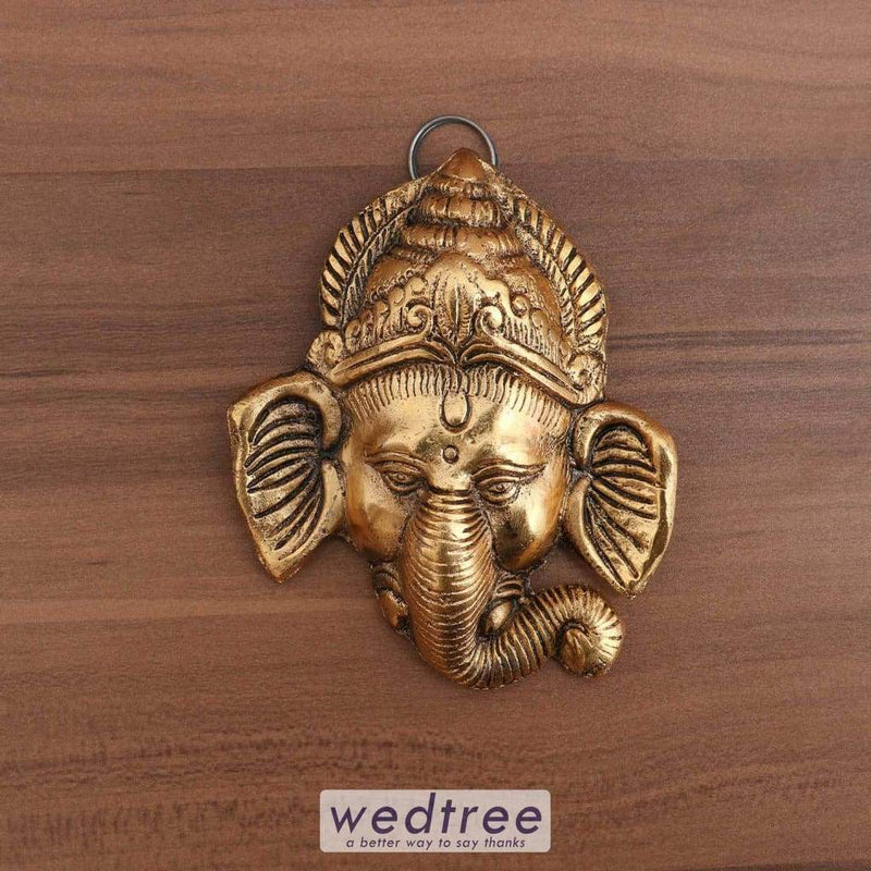 White Metal Ganesha Wall Hanging With Gold Finish - W3693 Home Decors