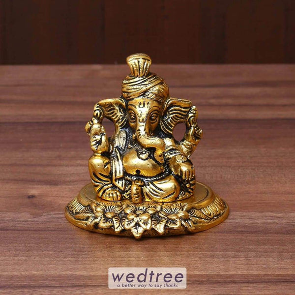 White Metal Ganesha With Gold Finish - W3632 Divine Return Gifts