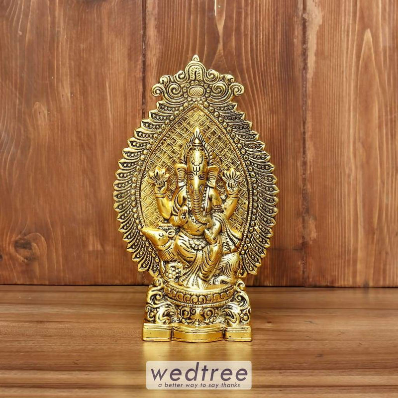 White Metal Ganesha With Gold Finish - W3910 Home Decors