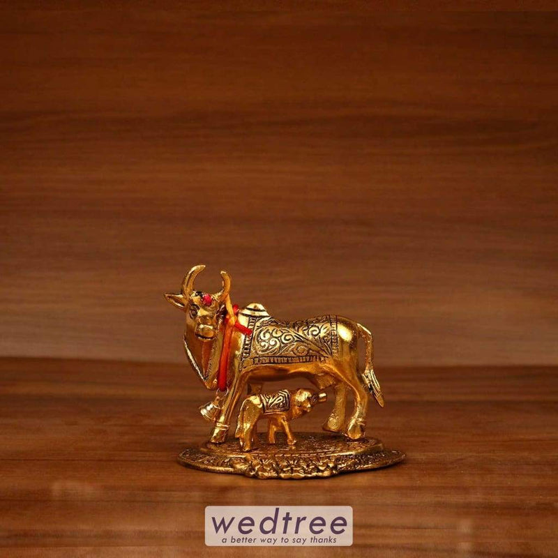 White Metal Gold Cow And Calf - 4.5X3.5 Home Decors