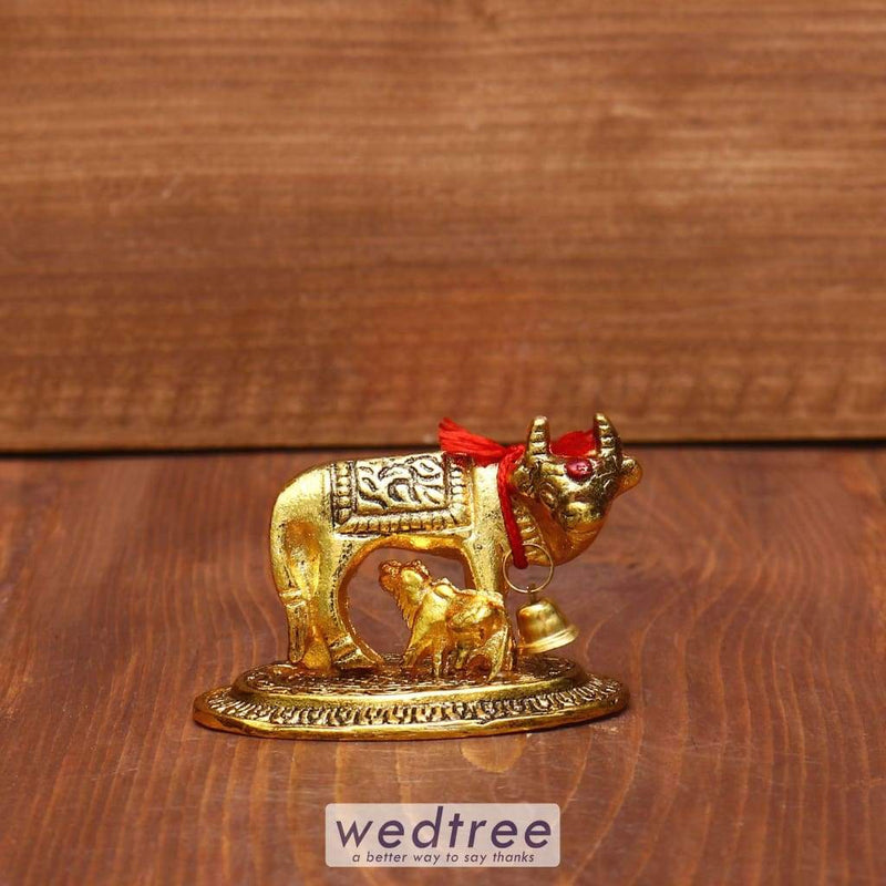 White Metal Gold Cow & Calf Mini - W3961 Divine Return Gifts