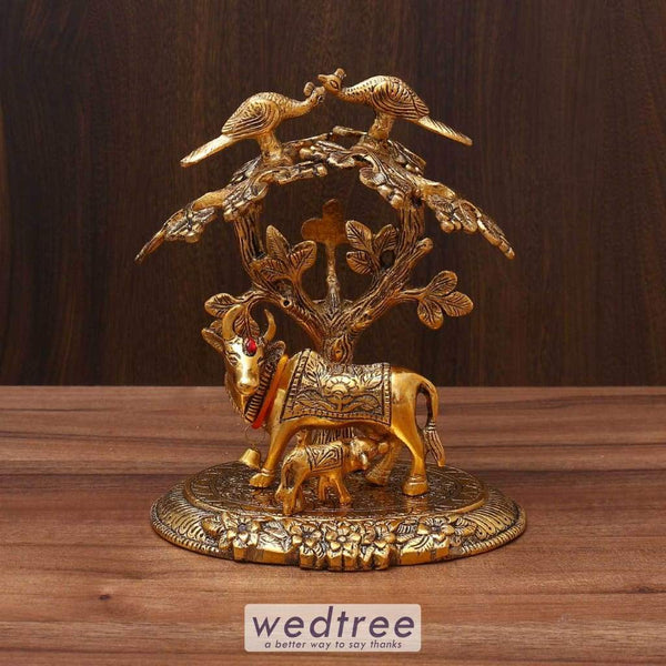 White Metal Gold Cow & Calf With Tree Divine Return Gifts