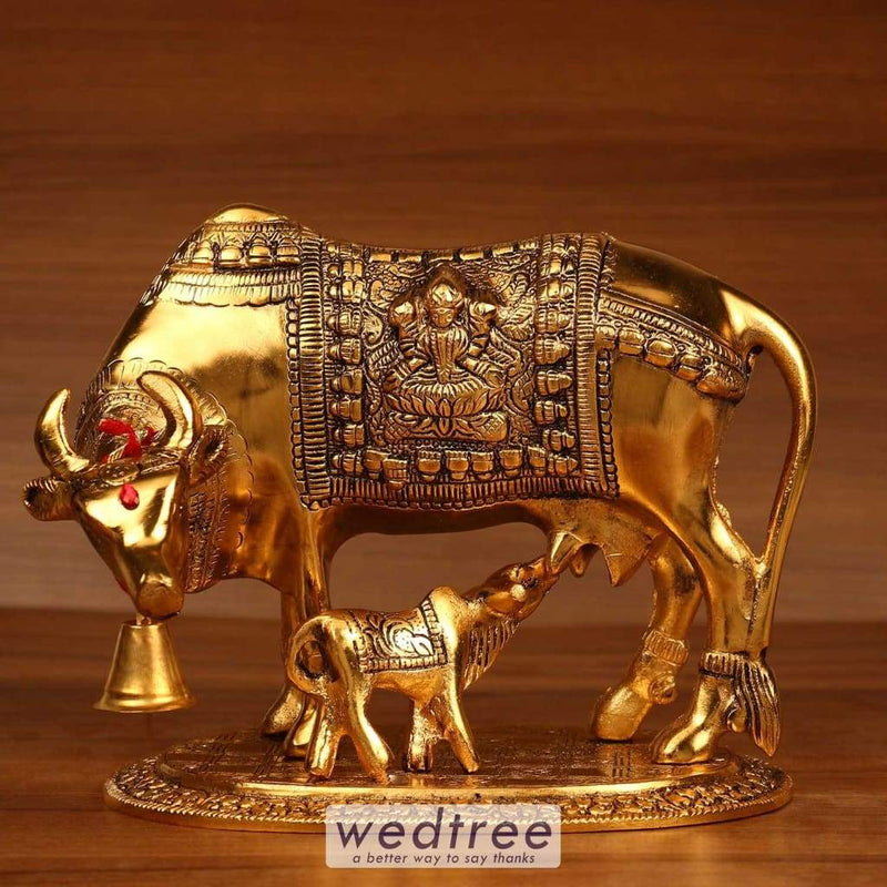 White Metal Gold Finish Cow And Calf - 7.5X7 Home Decors