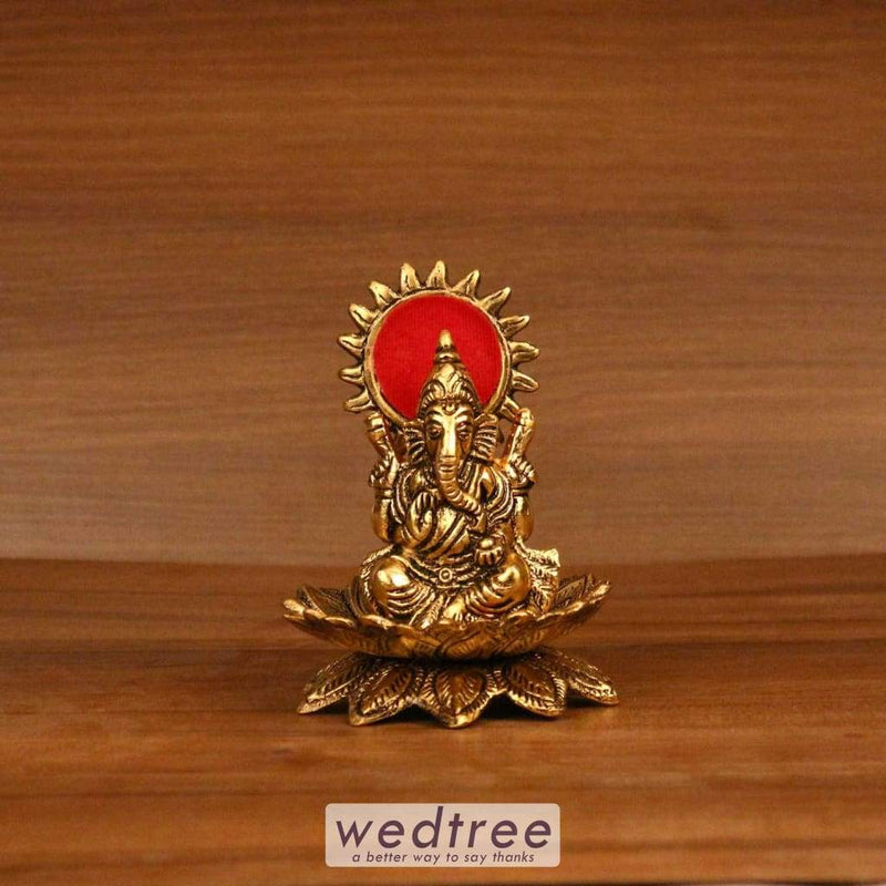 White Metal Gold Finish Ganesha On Lotus - W3247 Divine Return Gifts