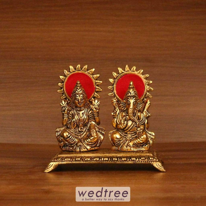 White Metal Gold Lakshmi And Ganesh With Rectangle Base Home Decors