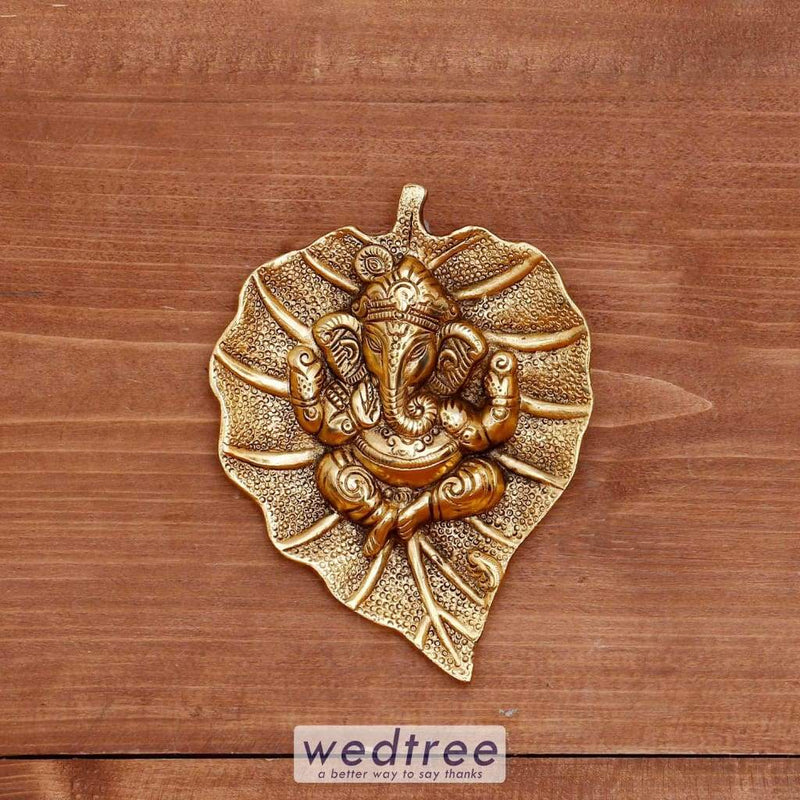 White Metal Gold Oxidised Leaf Ganesha Hanging - W4022 Home Decors