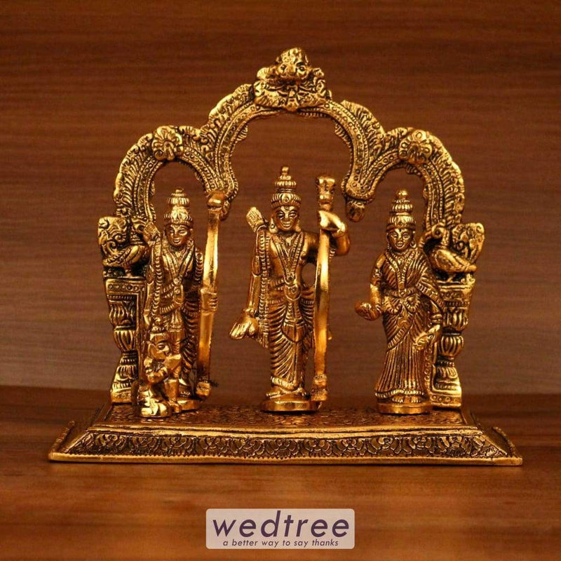 White Metal Gold Ram Darbar With Rectangle Base Home Decors