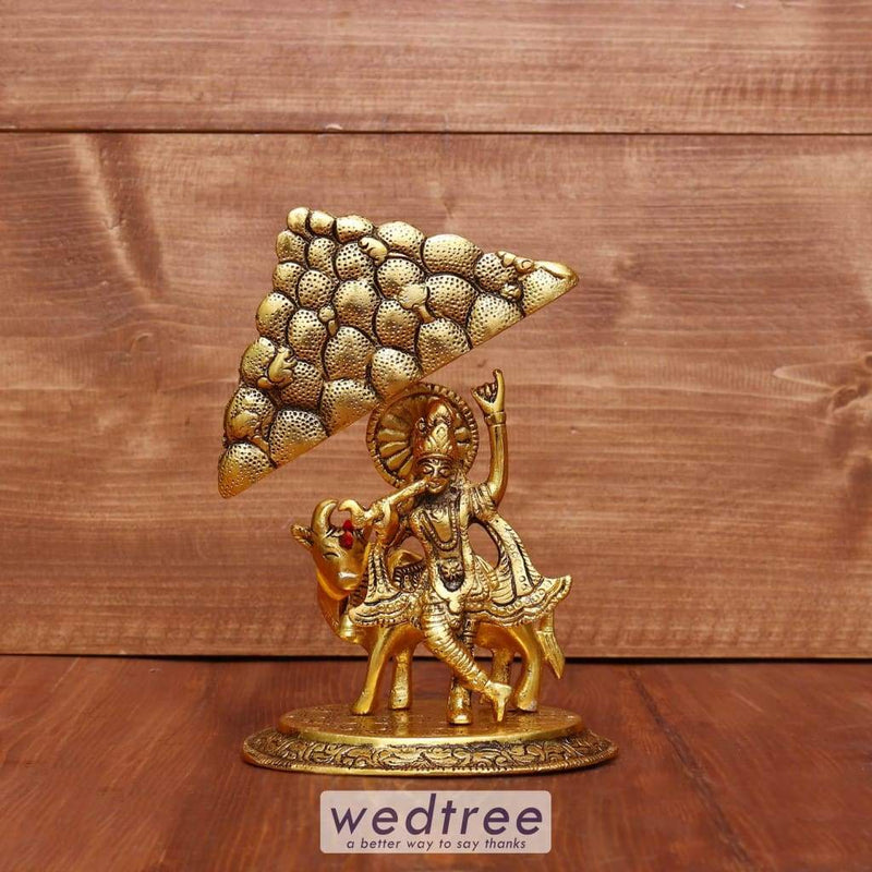 White Metal Govardhan Krishna With Cow In Golden Finish - W3974 Home Decors