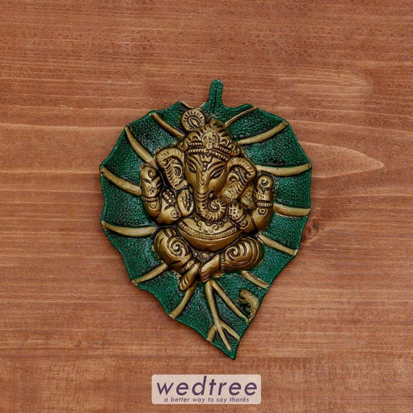 White Metal Green Leaf Ganesha Hanging - W4023 Home Decors