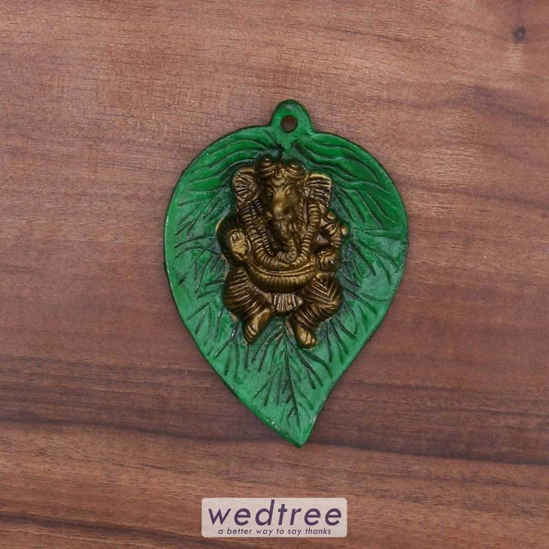 White Metal Green Leaf Ganesha Home Decors