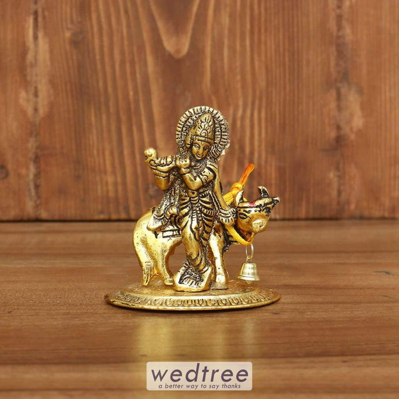 White Metal Krishna With Cow Gold Finish - W3860 Divine Return Gifts