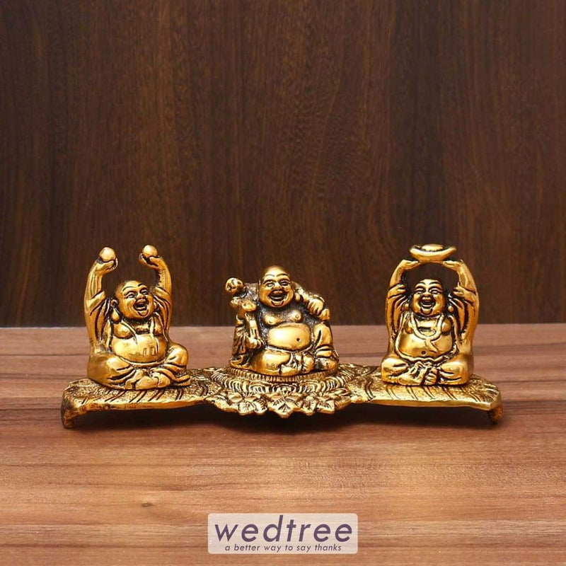 White Metal Laughing Buddha Gold Finish - W3596 Home Decors