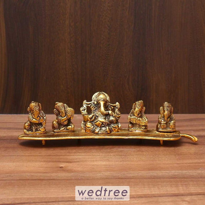 White Metal Musical Ganesha Gold Finish - W3591 Home Decors