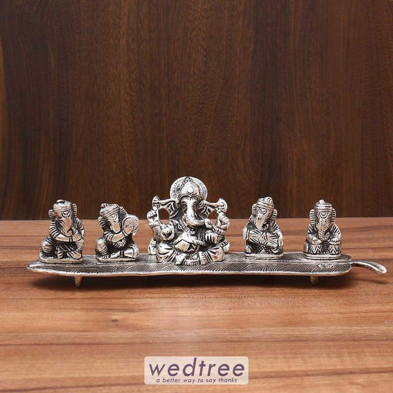 White Metal Musical Ganesha - W3590 Home Decors