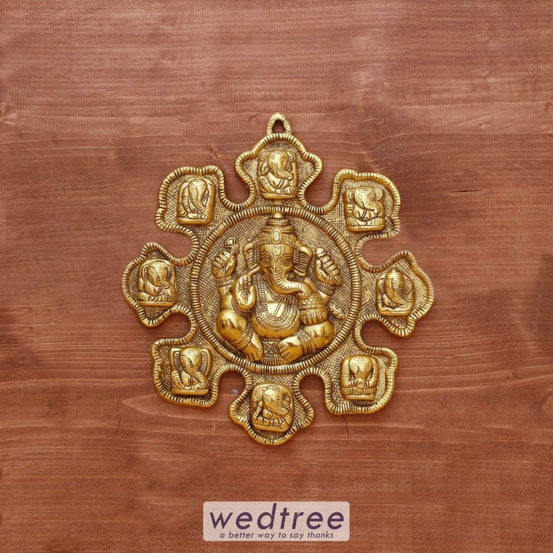 White Metal Nav Ganesh Gold Oxidised Finish - W4039 Home Decors