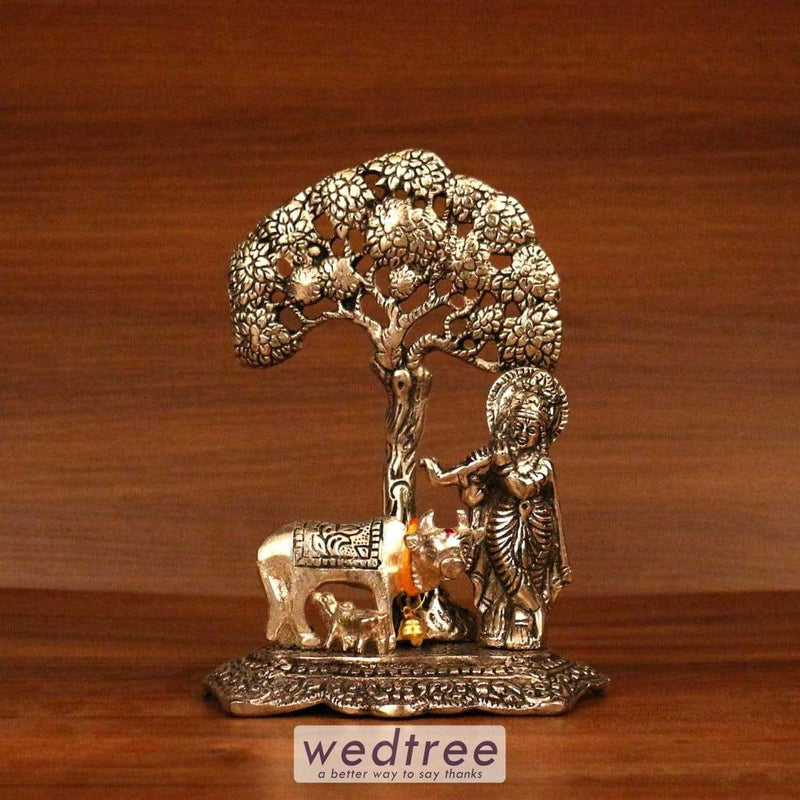 White Metal Oxidised Cow And Calf Krishna Under Tree Home Decors