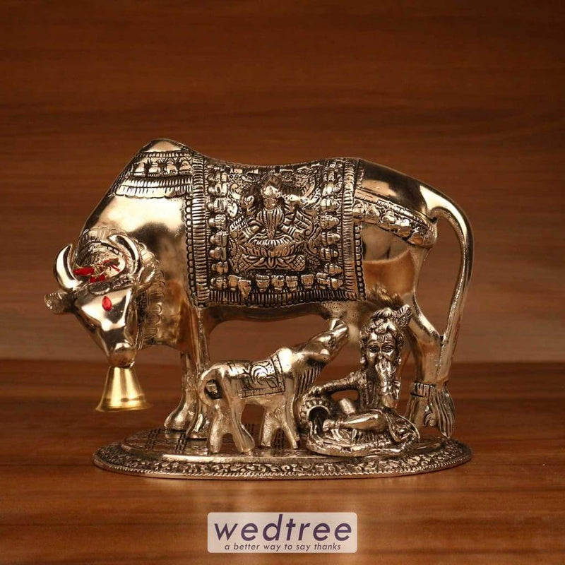 White Metal Oxidised Cow And Calf With Bal Krishna - 7.5X7 Home Decors