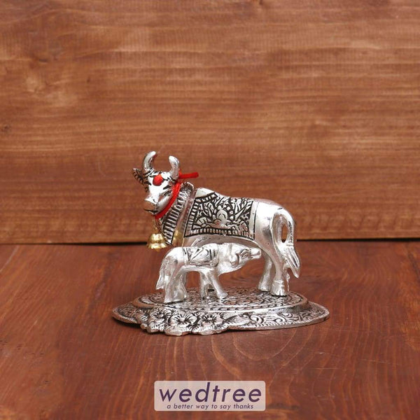 White Metal Oxidised Cow & Calf 3.5 X 4.5 Inch - W3954 Home Decors