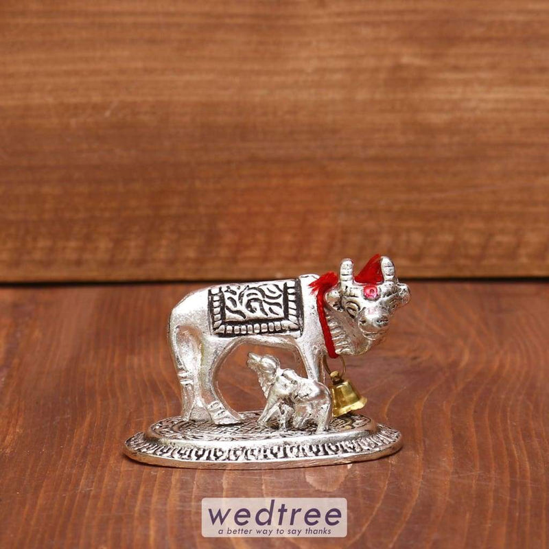 White Metal Oxidised Cow & Calf Mini - W3962 Divine Return Gifts