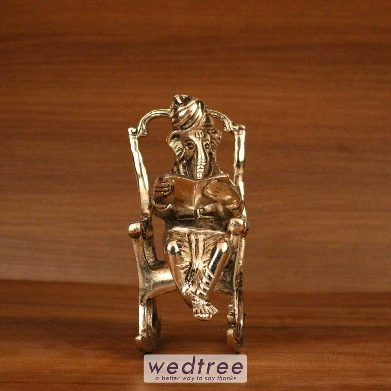 White Metal Oxidised Ganesha On Chair - W3227 Home Decors
