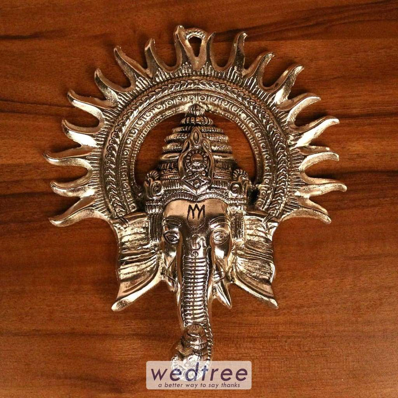 White Metal Oxidised Kiran Ganesha Wall Hanging - W3234 Home Decors