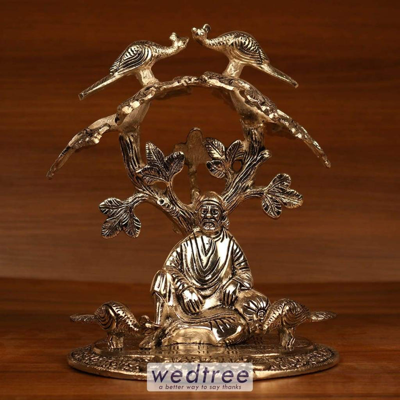 White Metal Oxidised Sai Baba Under Tree Home Decors