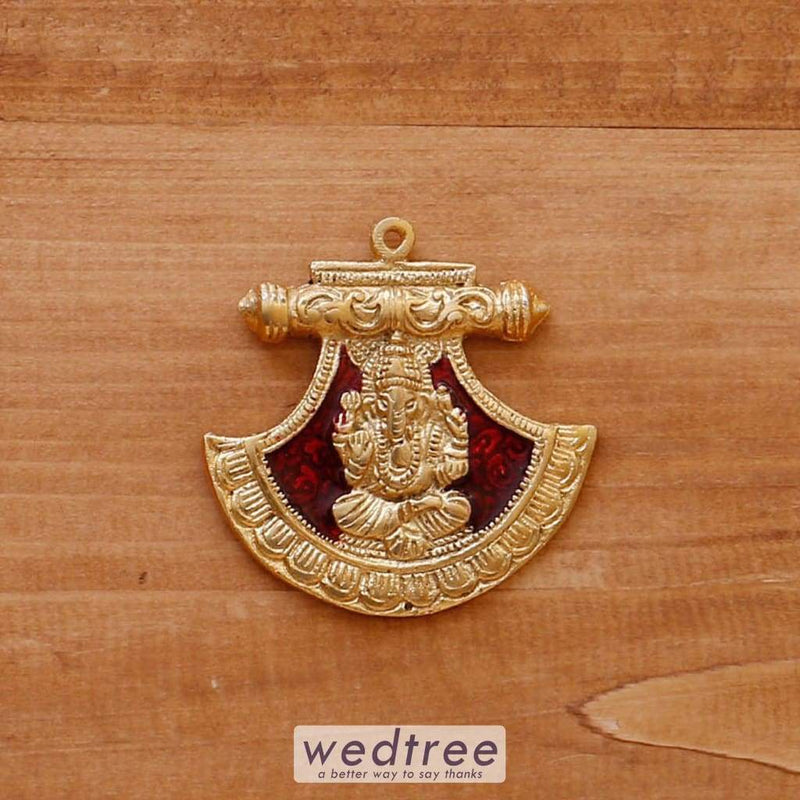 White Metal Pendant Fan Ganesha Gold Minakari - W4069 Divine Return Gifts