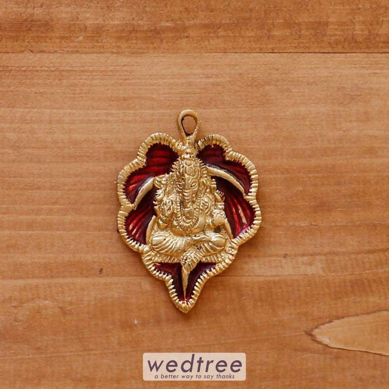 White Metal Pendant Leaf Ganesha Gold Minakari - W4070 Divine Return Gifts