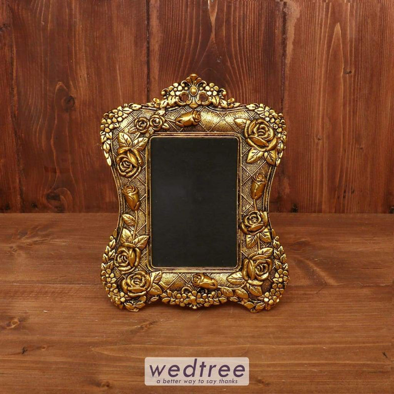 White Metal Photo Frame With Gold Finish - W3844 Home Decors