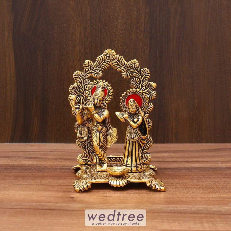 White Metal Radha Krishna Frame With Gold Finish - W3593 Home Decors