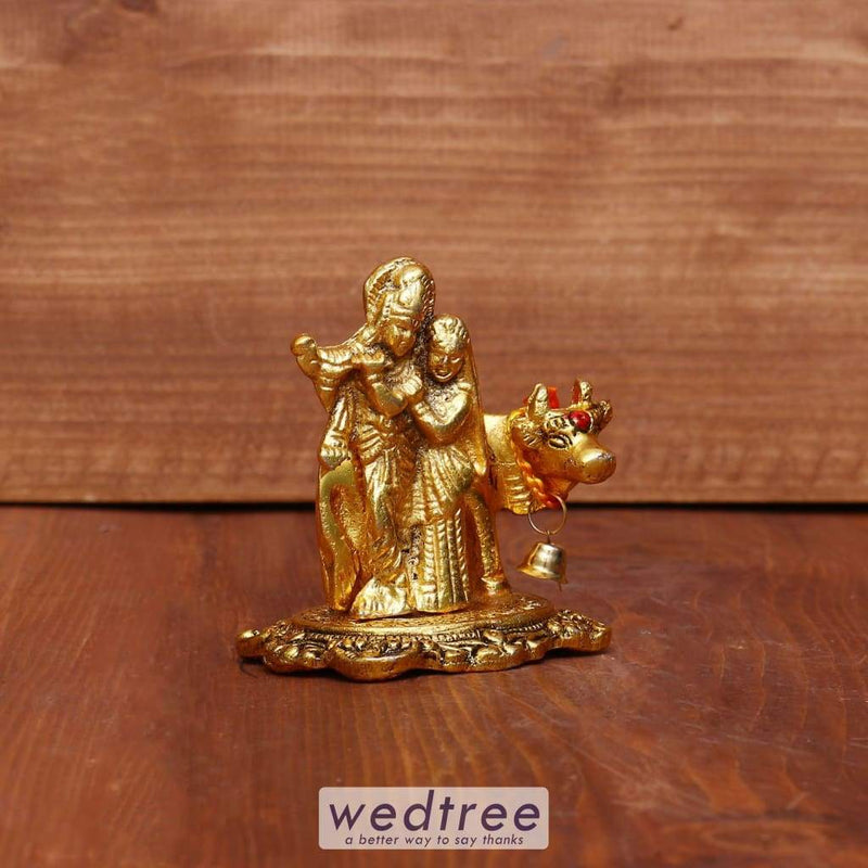 White Metal Radha Krishna Small With Cow - W3977 Divine Return Gifts