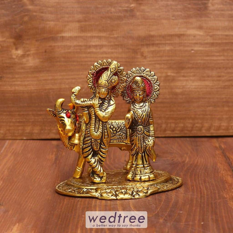 White Metal Radha Krishna With Cow Gold Finish - W3960 Divine Return Gifts