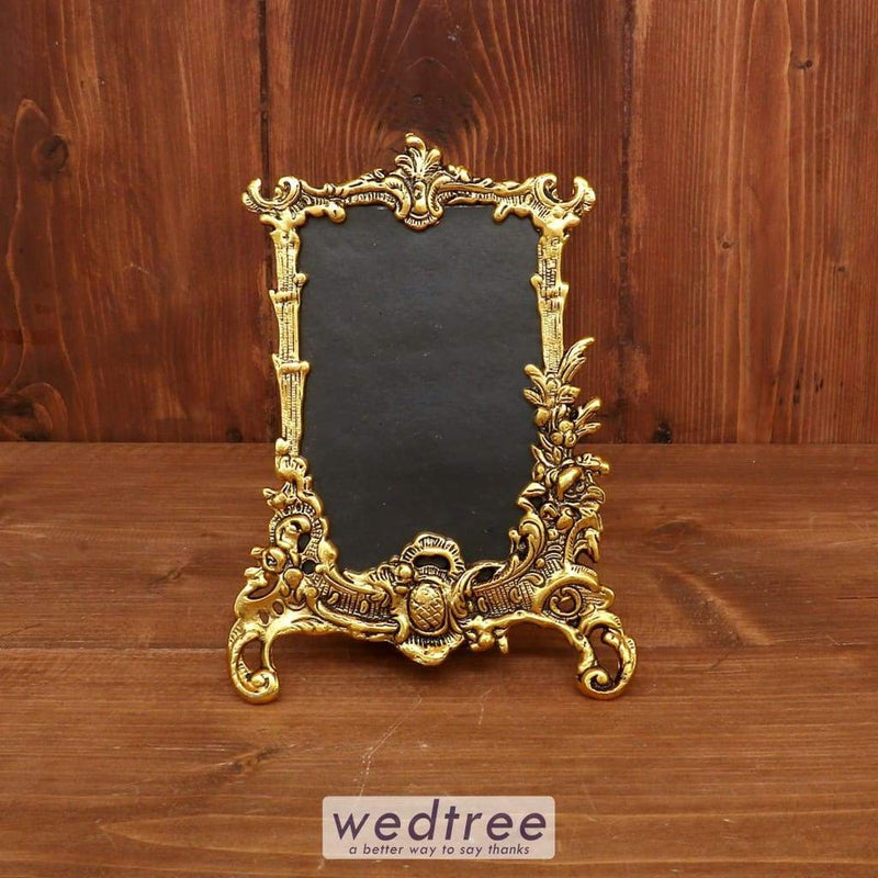 White Metal Rectangle Photo Frame With Gold Finish - W3846 Home Decors