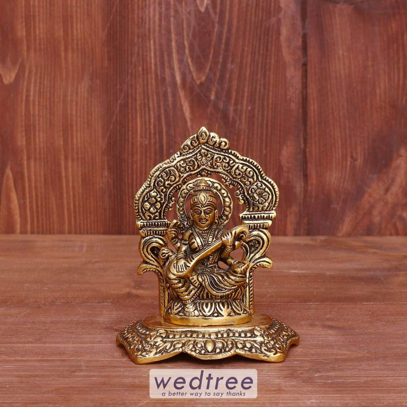 White Metal Saraswathi With Frame Gold Finish - W3979 Home Decors
