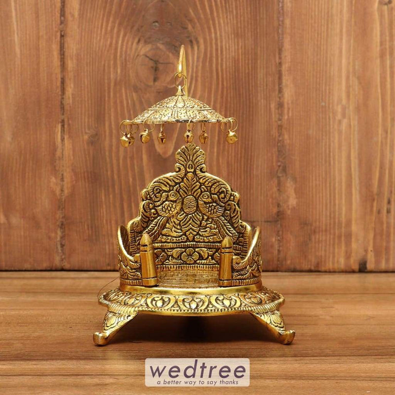 White Metal Sinhasan With Oval Base Gold Finish Small - W3845 Pooja Utilities