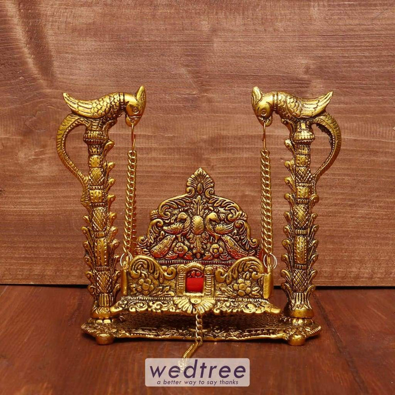 White Metal Swing With Gold Finish - W3973 Pooja Utilities