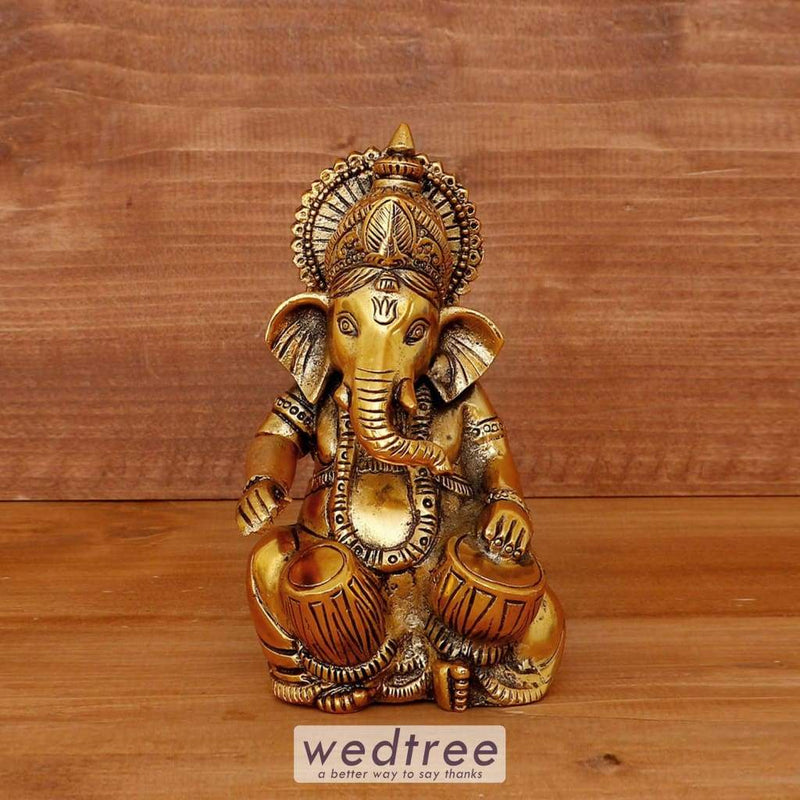 White Metal Tabla Ganesh Gold Oxidised Finish - W4028 Home Decors