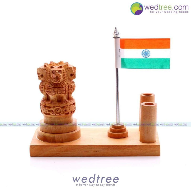 Wooden Ashoka Pen Stand With National Flag Utility Return Gifts