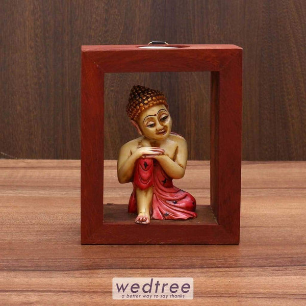 Wooden Buddha Statue With Candle Diyas & Holders