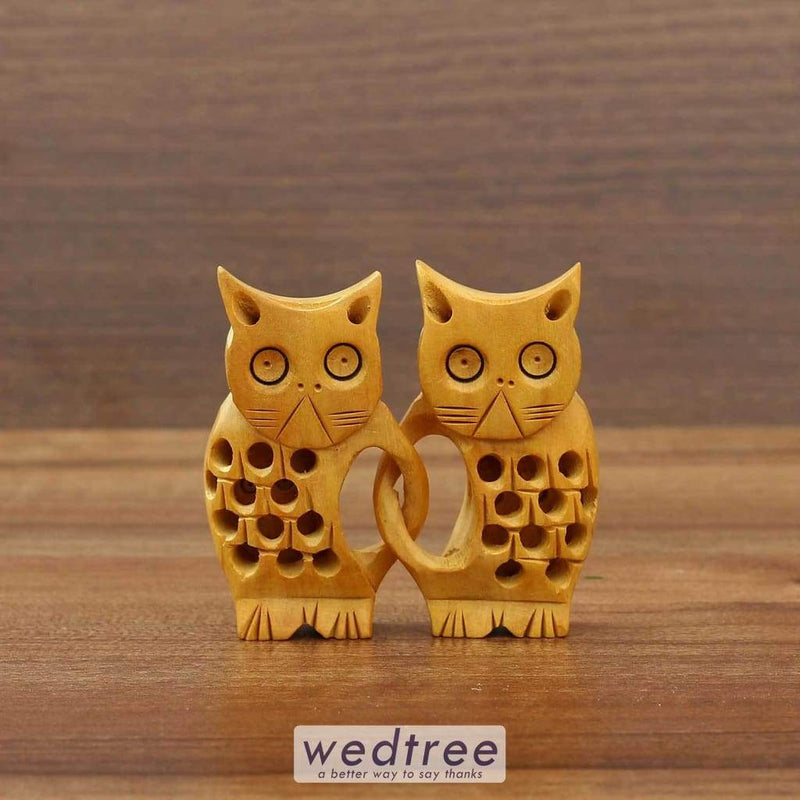Wooden Cat Twins With Jali Design Home Decors