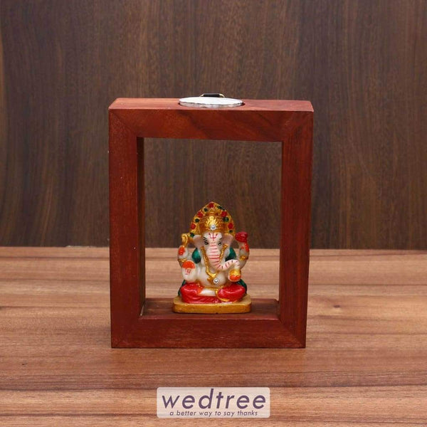 Wooden Ganesha Statue With Candle Diyas & Holders