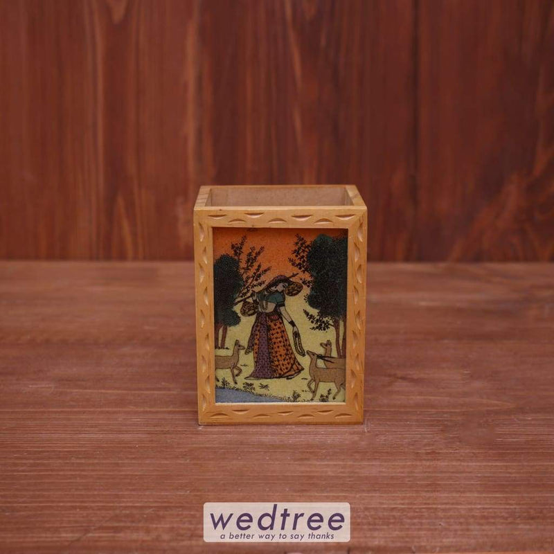 Wooden Gemstone Painting Pen Stand - W3921 Utility Return Gifts