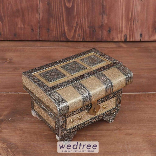 Wooden German Oxidised Jewel Box - W3680 Jewellery Holder