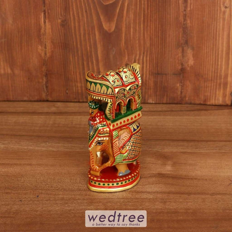 Wooden Hand Painted Ambabari Elephant 5 Inch - W3932 Home Decors